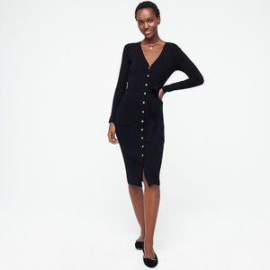 J Crew black button you sweater dress